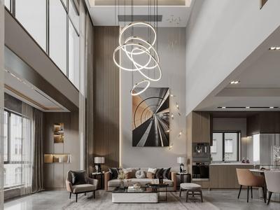 現代別墅客廳餐廳廚房3d模型
