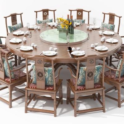 新中式实木圆形餐桌椅3D模型