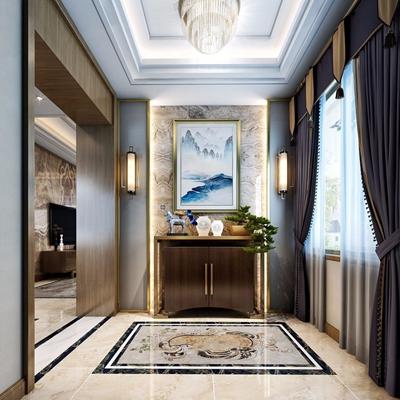新中式门厅 新中式玄关柜 装饰柜 窗帘 吊灯 盆栽 壁灯