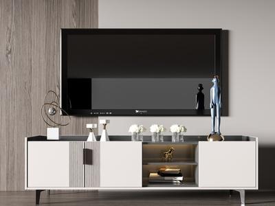 现代简约电视柜3d模型