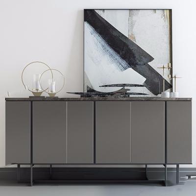 现代玄关柜摆件组合 现代边柜/玄关柜 餐边柜 电视柜 挂画 烛台 摆件