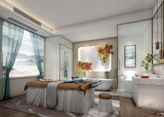 现代美容院 现代spa 美容院 按摩床 洗手台 浴缸 淋浴间 挂画 镜前灯 窗帘