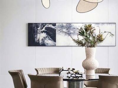 纳沃设计现代圆形餐桌椅3d模型
