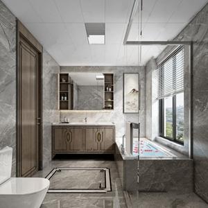 新中式卫生间 新中式卫浴 马桶 浴缸 卫浴柜 台盆 装饰画 摆件