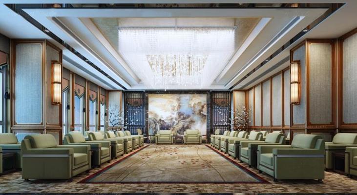 中式豪华办公室 中式会客厅 接待室 壁灯 单人沙发