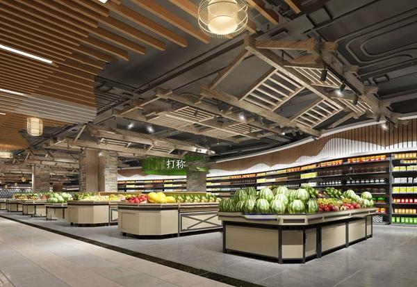工业风超市蔬菜水果货架3d模型