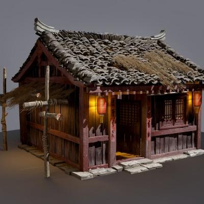 中式古建破旧民居茅草房3D模型