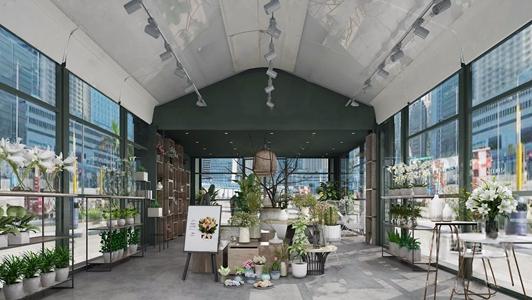 现代花店 现代商业零售 花店 鲜花盆栽 花卉 花艺装饰架 装饰柜 花架