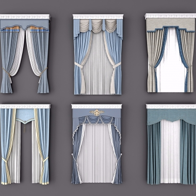 欧式布艺窗帘3D模型