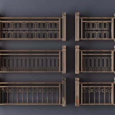 新中式金属栏杆护栏3D模型