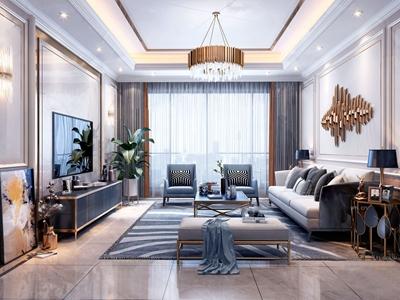 简欧轻奢客厅3d模型