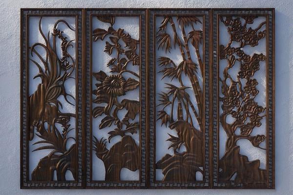 梅兰竹菊镂空木雕墙饰挂件 中式墙饰 梅兰竹菊 镂空木雕 墙饰挂件