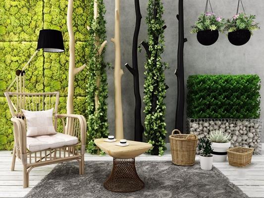 户外植物休闲椅石头组合 植物 休闲椅 石头 植物墙 树干 藤编 茶几
