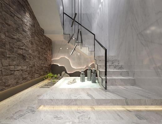 新中式楼梯间 新中式楼梯间 石狮子 摆件 吊灯 背景墙 楼梯