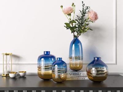 北欧现代玻璃花瓶 现代饰品摆件 渐变玻璃花瓶 电视柜 创意干花 插花