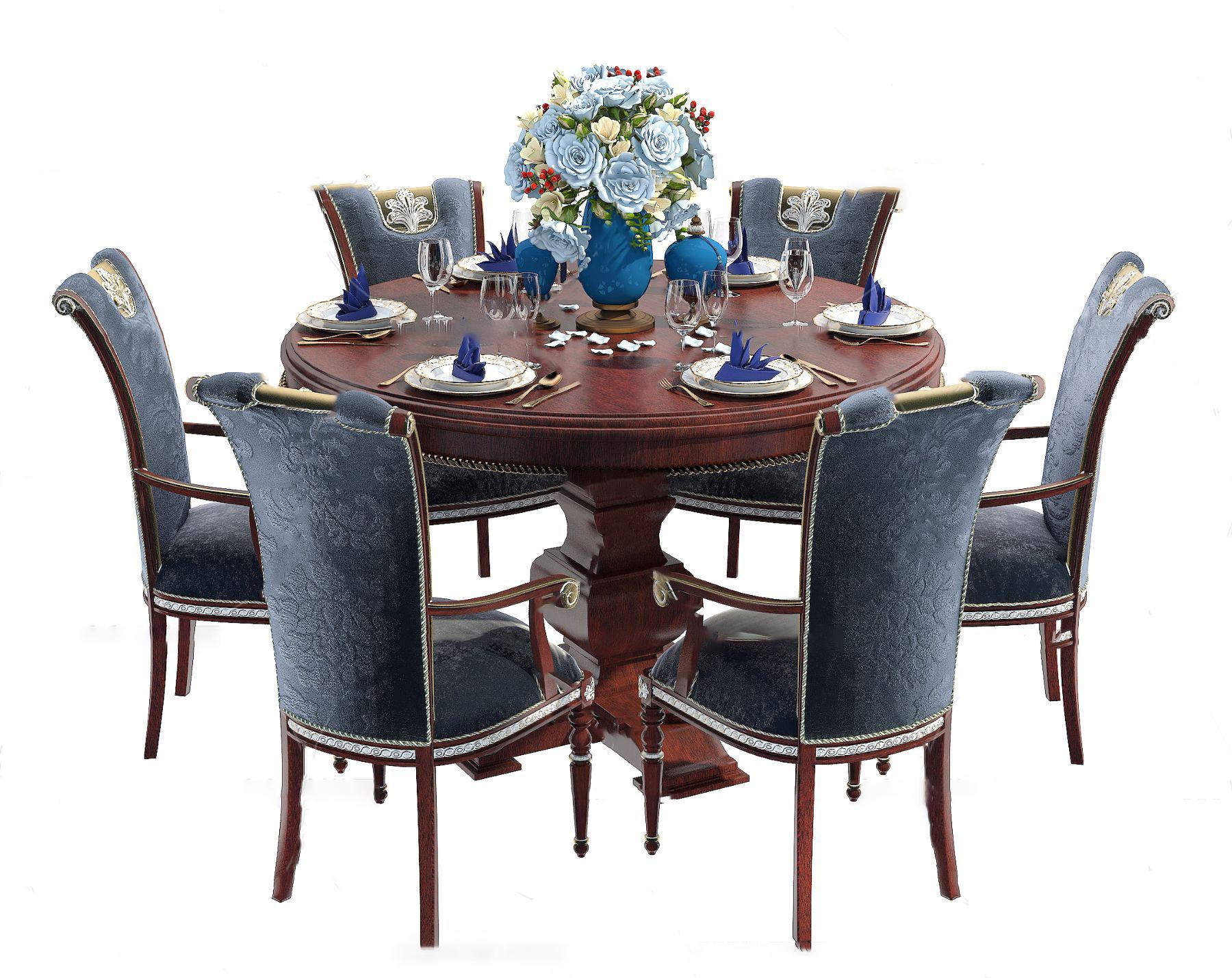 美式实木圆形餐桌椅3d模型