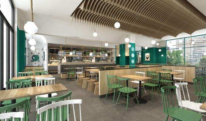 北欧时尚餐厅 北欧餐饮空间 餐桌椅 卡座 取餐台 自助餐厅 吊灯