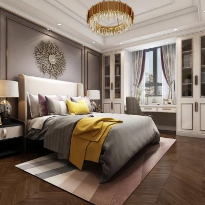 美式轻奢卧室主人房3D模型