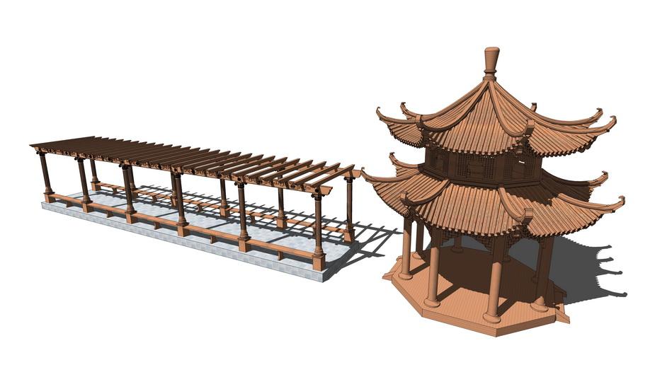 中式廊架凉亭组合SU模型
