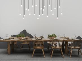 中式原木餐桌椅餐具吊灯组合3D模型