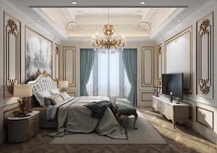 法式臥室 法式臥室 雙人床 床頭柜 臺燈 吊燈 電視柜 床尾凳
