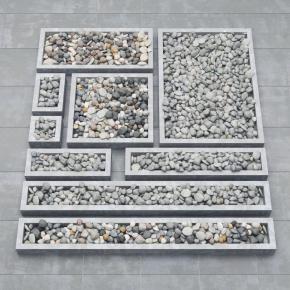 现代鹅卵石组合3D模型