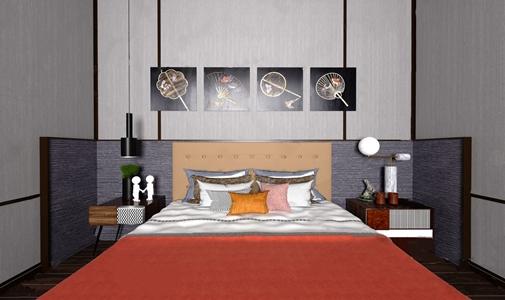 布鲁盟设计 济南新城玺樾别墅 现代轻奢双人床床头柜组合-做整个床 现代双人床 床垫 抱枕 边柜 花瓶 装饰画 吊灯 台灯 摆件