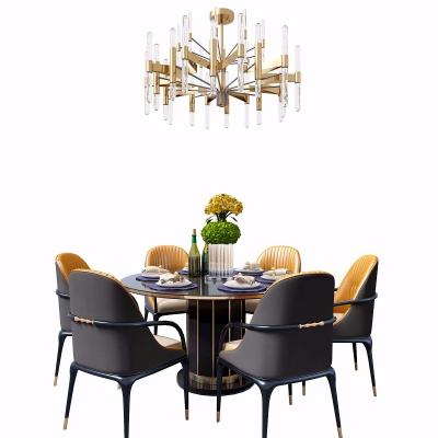现代木质圆形六人位餐桌椅3D模型