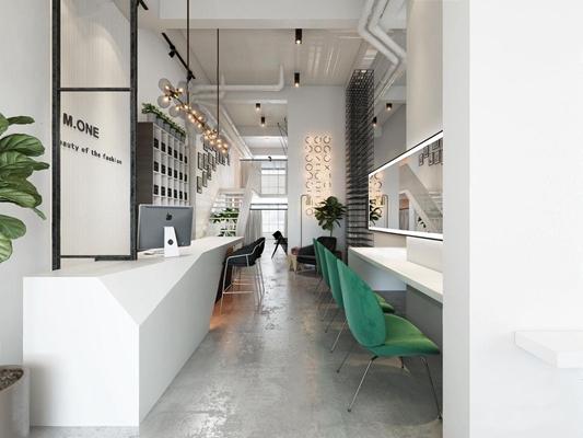 工业风美发造型店 工业风其他 吧台 吧椅 休闲椅 梳妆台 吊灯