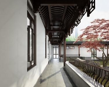 中式走廊 中式建筑 外走廊 回廊 假山 植物 窗子 栏杆