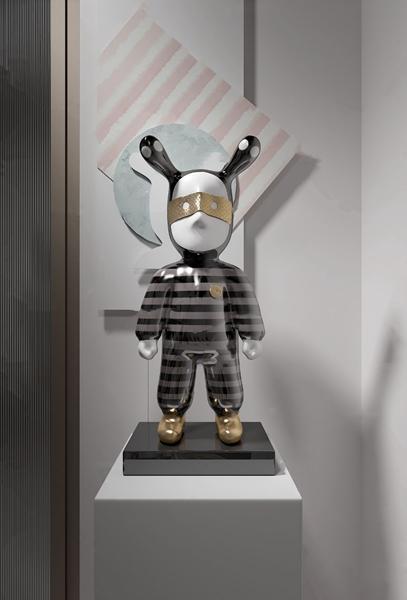 纳沃设计 现代彩瓷眼罩条纹男孩雕塑3d模型