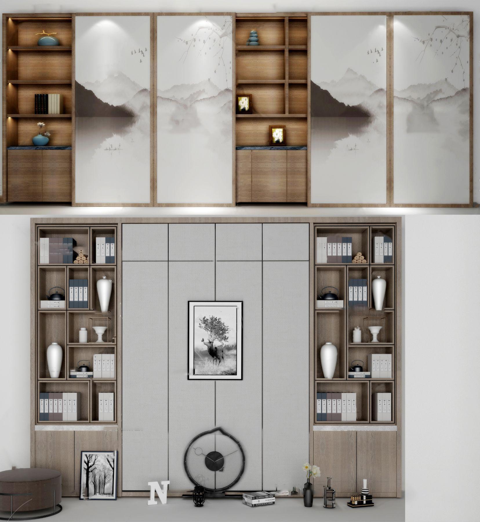 新中式实木书柜3d模型