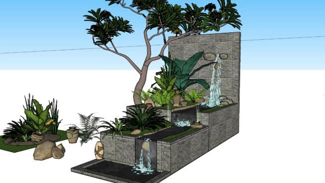 水瀑池塘 其他 植物 室外 花盆 庭院