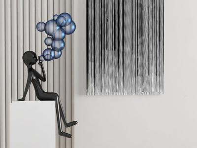 现代金属雕塑摆件3d模型