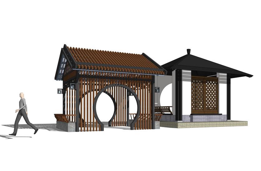 中式凉亭组合SU模型