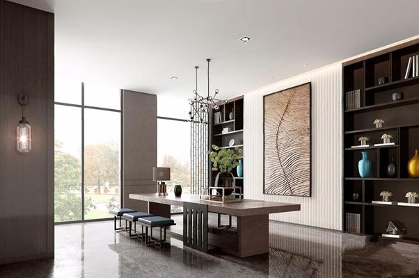 新中式售楼中心茶室 新中式售楼处 售楼中心茶室 茶台 凳子 吊灯 壁灯 壁柜 瓷器 挂画 摆件 花瓶 花艺