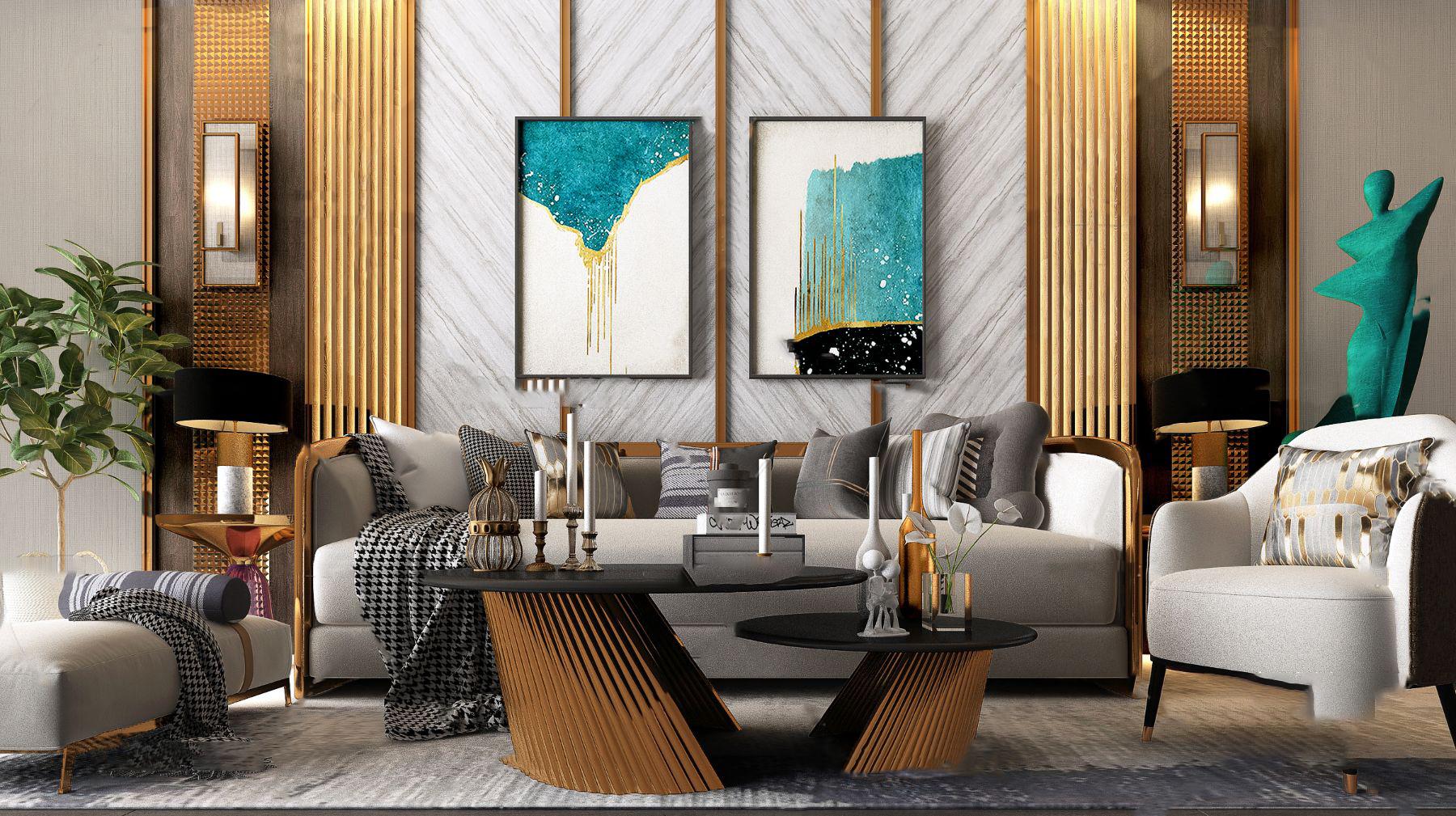 后现代轻奢组合沙发3d模型