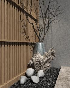 新中式石头雕塑花瓶组合3D模型