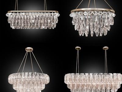 现代轻奢水晶吊灯3d模型