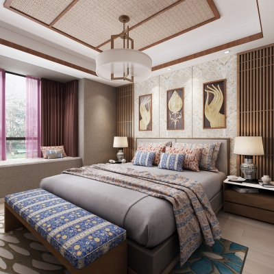 东南亚卧室3D模型