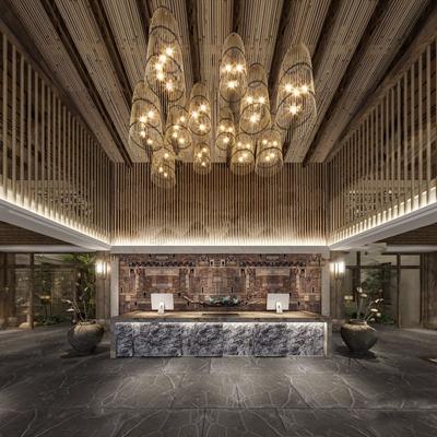 新中式酒店大堂 新中式前台 接待台 吊灯 竹子 摆件