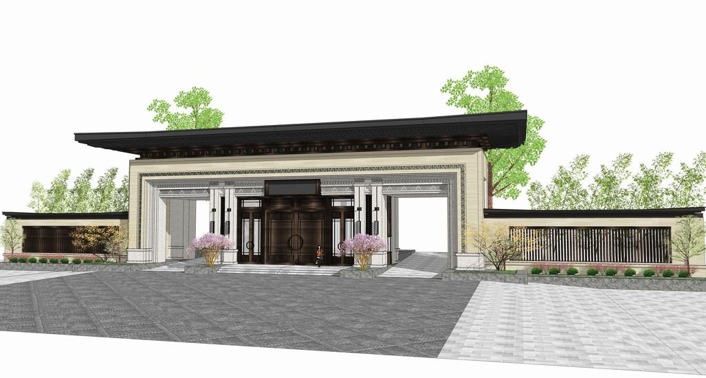 中式小区大门入口SU模型