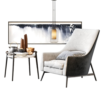 新中式单人沙发 新中式单人沙发 圆几 单头吊灯 休闲椅 长幅挂画 摆件