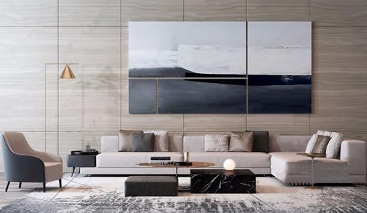 现代沙发茶几组合 现代沙发茶几组合 转角沙发 茶几 单人沙发 落地灯 挂画 饰品摆件