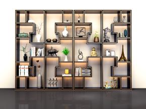 新中式博古架裝飾架擺件書籍組合3D模型