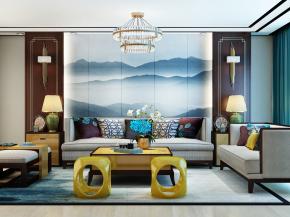 中式沙发茶几背景墙吊灯壁灯组合3D模型