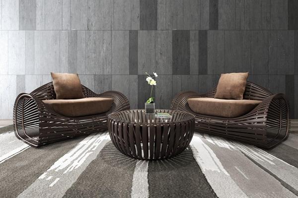 新中式竹制休闲藤椅沙发 新中式单人沙发 茶几 时尚藤椅 休闲沙发 室外沙发组合