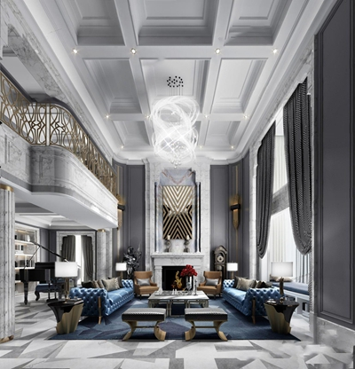 简欧挑空别墅客厅 简欧客厅 多人沙发 茶几 边几 壁炉 吊灯 壁灯 台灯 单人沙发 脚凳 窗帘 皮质沙发 钢琴