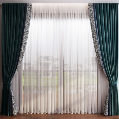 現代布藝窗簾窗紗組合3D模型
