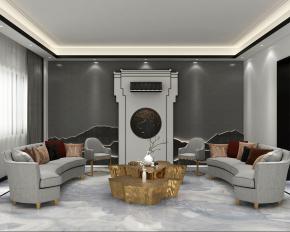 新中式会所会客厅3D模型